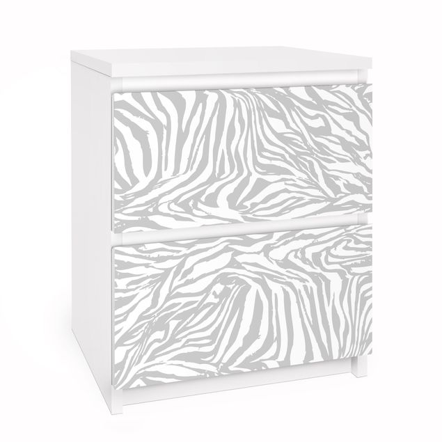 Möbelfolie für IKEA Malm Kommode - Selbstklebefolie Zebra Design Hellgrau