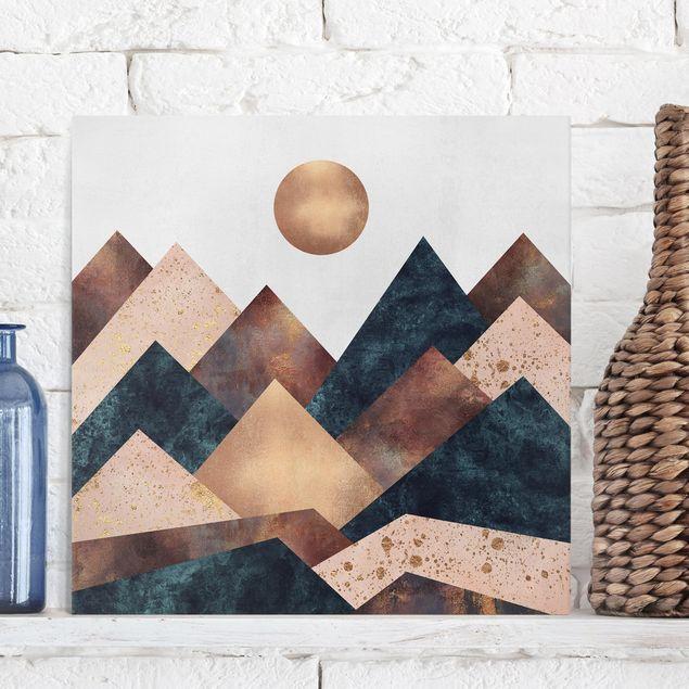 Leinwandbild - Geometrische Berge Bronze - Quadrat 1:1