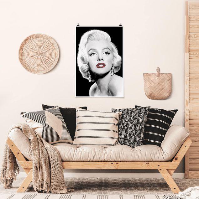 Poster - Marilyn mit Ohrschmuck - Hochformat 3:2