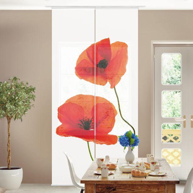 Schiebegardinen Set - Charming Poppies - Flächenvorhänge