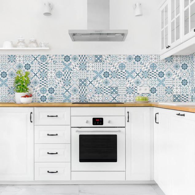 Küchenrückwand - Geometrischer Fliesenmix Blaugrau