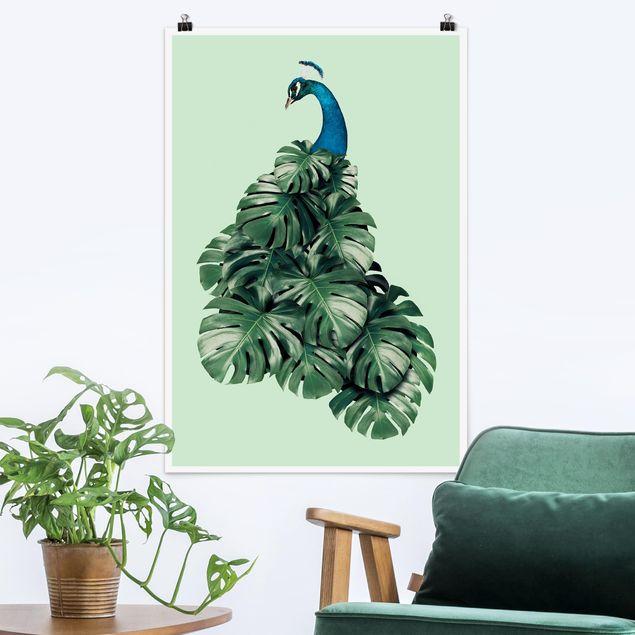 Poster - Jonas Loose - Pfau mit Monstera Blättern - Hochformat 3:2