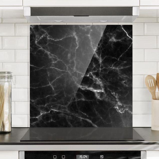 Glas Spritzschutz - Nero Carrara - Quadrat - 1:1