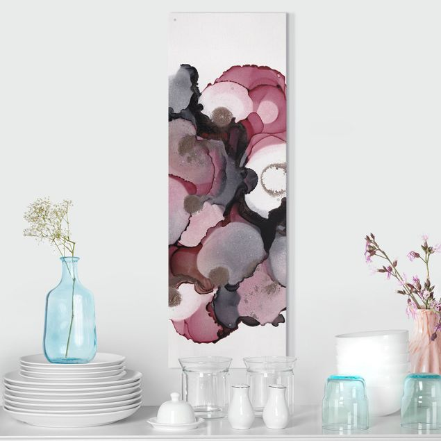 Leinwandbild - Pink-Beige Tropfen mit Roségold - Panorama Hochformat 1:3