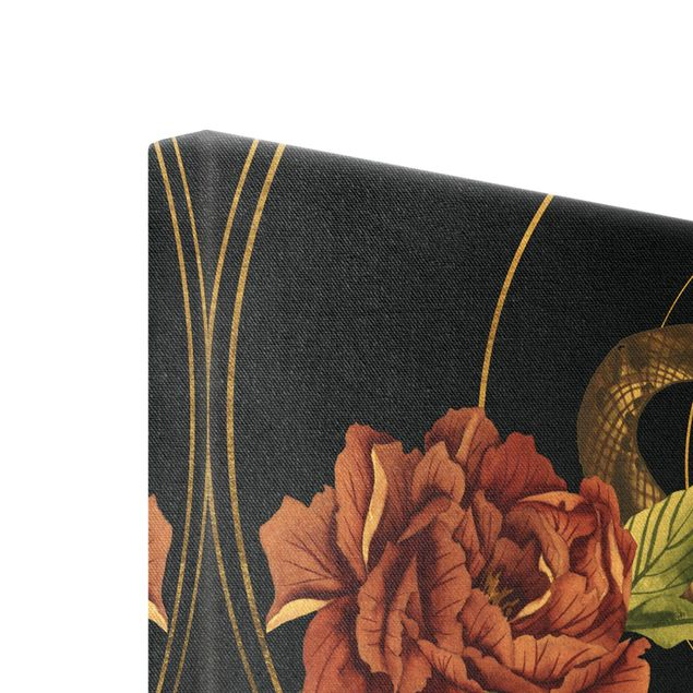 Leinwandbild Gold - Schlange mit Rosen Schwarz und Gold II - Hochformat 2:3