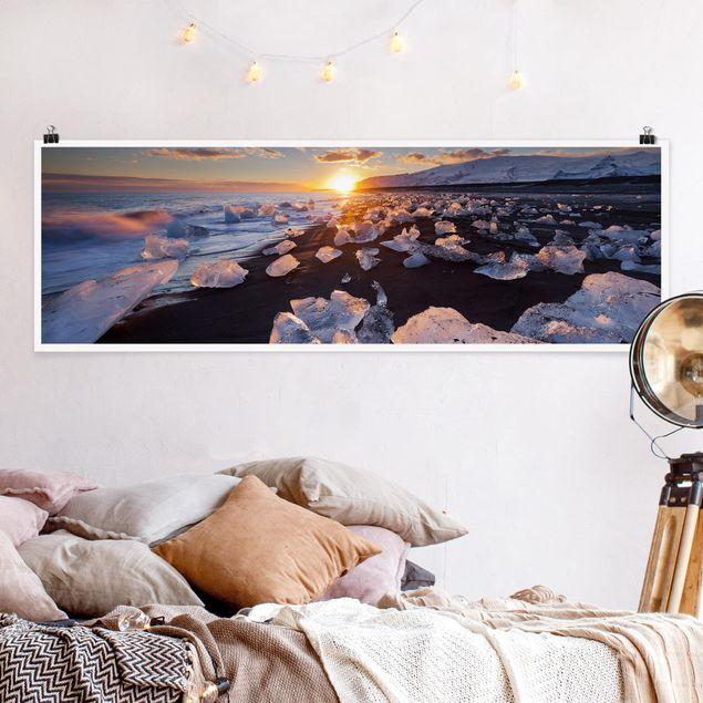 Poster - Eisbrocken am Strand Island - Panorama Querformat