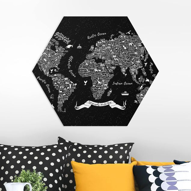 Hexagon Bild Forex - Typografie Weltkarte schwarz