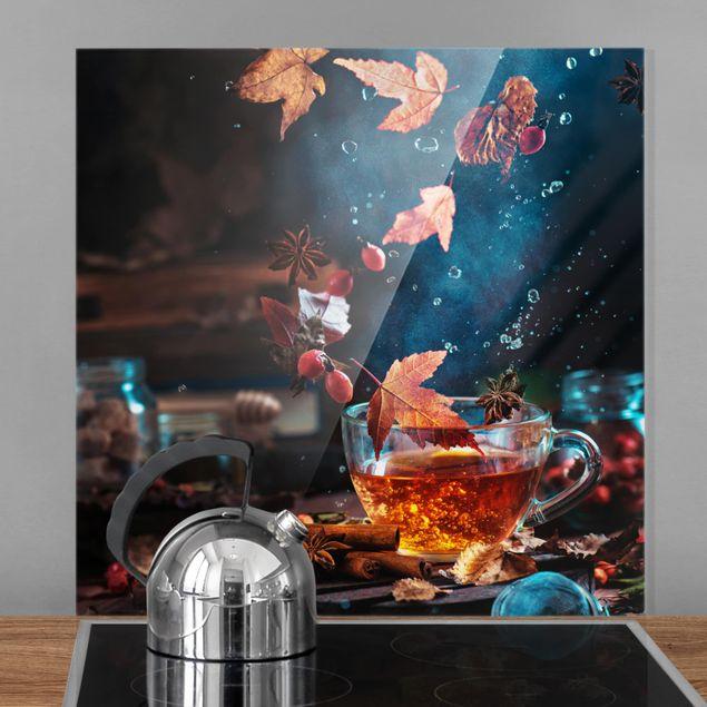 Glas Spritzschutz - Teetasse im Herbst - Quadrat - 1:1