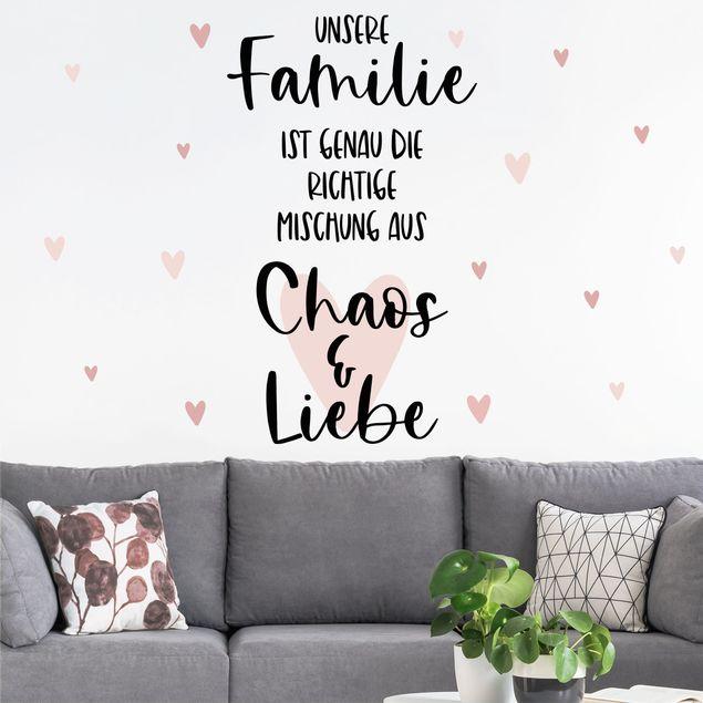 Wandtattoo mehrfarbig - Familie, Liebe & Chaos Herzen