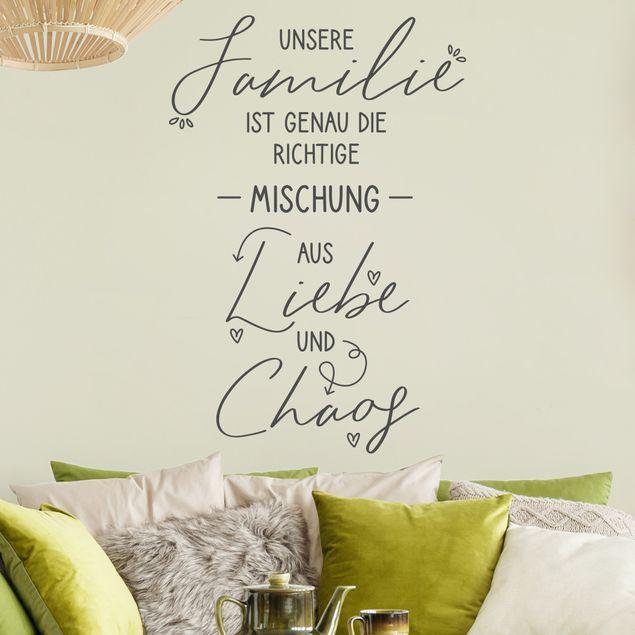 Wandtattoo einfarbig - Familie, Liebe & Chaos