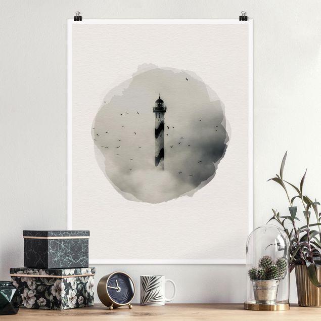 Poster - Wasserfarben - Leuchtturm im Nebel - Hochformat 4:3