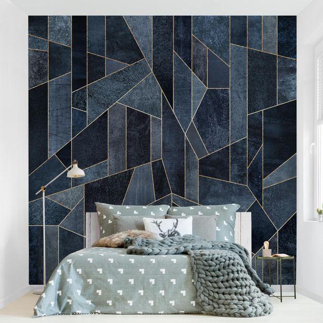 Fototapete - Blaue Geometrie Aquarell - Fototapete Quadrat
