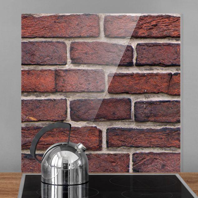 Glas Spritzschutz - Backsteinwand rot - Quadrat - 1:1