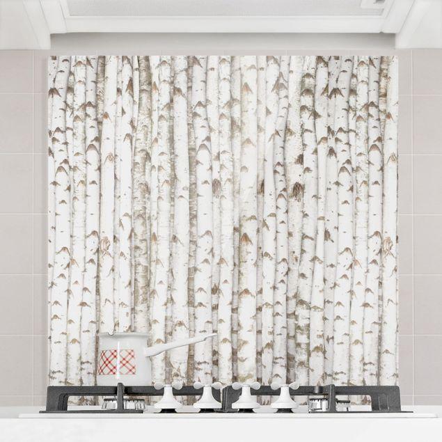 Glas Spritzschutz - No.YK15 Birkenwand - Quadrat - 1:1