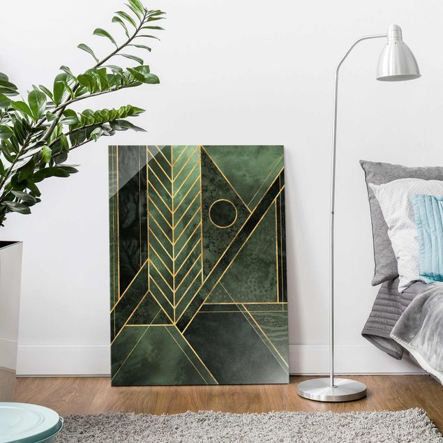 Glasbild - Geometrische Formen Smaragd Gold - Hochformat 4:3