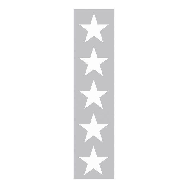 Schiebegardinen Set - Große Weiße Sterne auf Grau - Flächenvorhänge