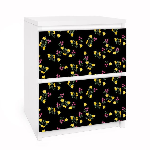 Möbelfolie für IKEA Malm Kommode - Selbstklebefolie Folie Mille fleurs Muster