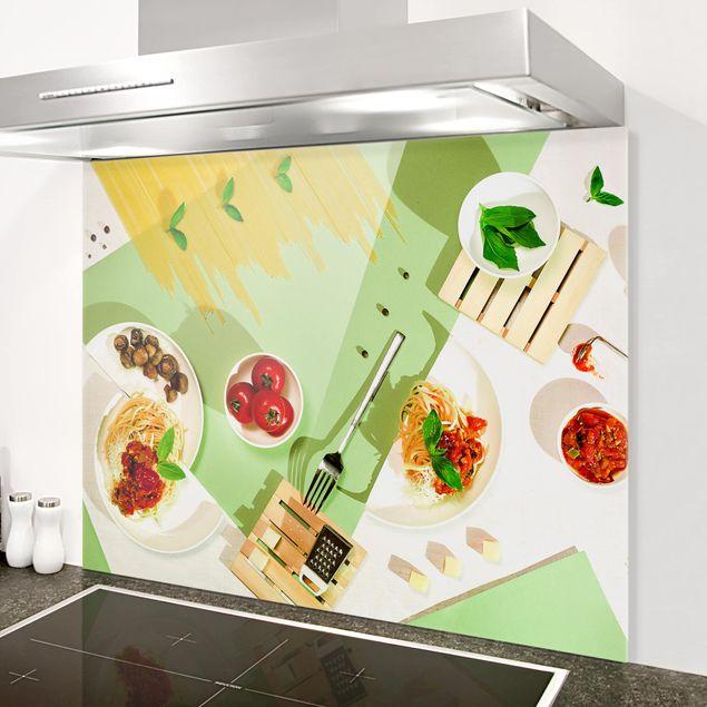 Glas Spritzschutz - Geometrie in der Küche - Querformat - 4:3