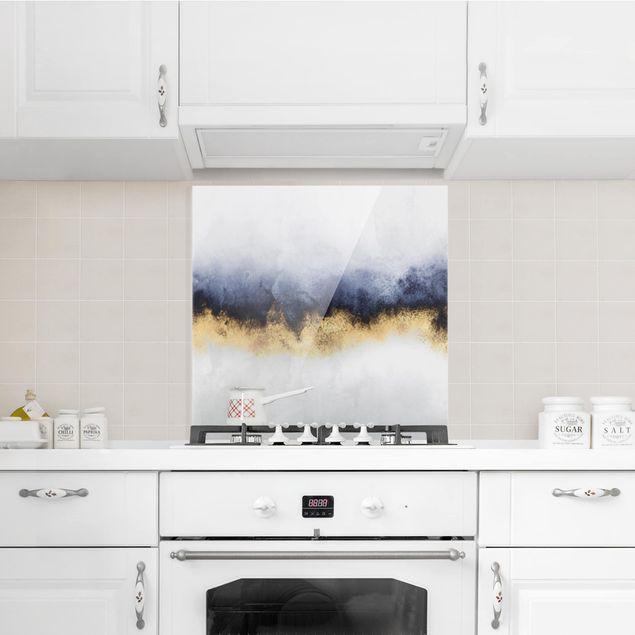 Glas Spritzschutz - Wolkenhimmel mit Gold - Quadrat - 1:1