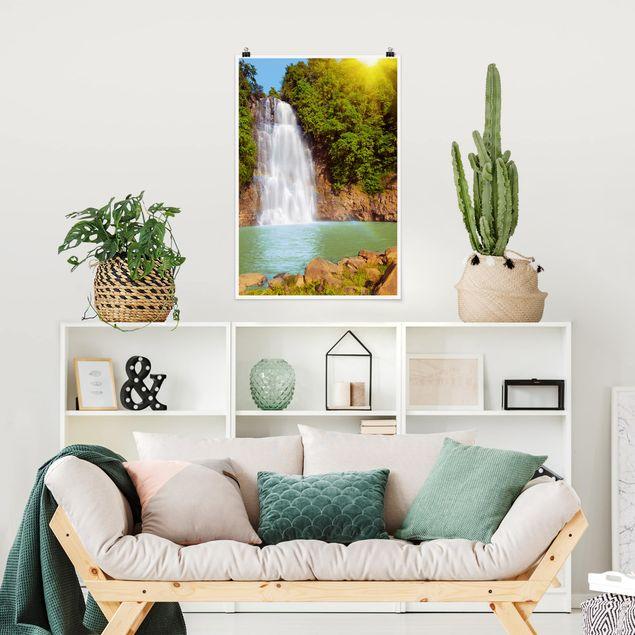 Poster - Wasserfall Romantik - Hochformat 3:2