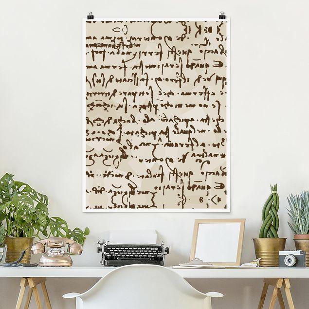 Poster - Da Vinci Manuskript - Hochformat 3:4