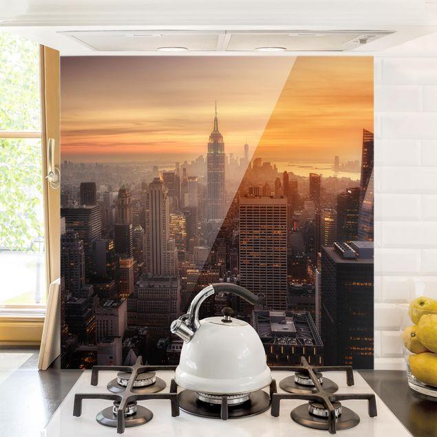 Glas Spritzschutz - Manhattan Skyline Abendstimmung - Quadrat - 1:1