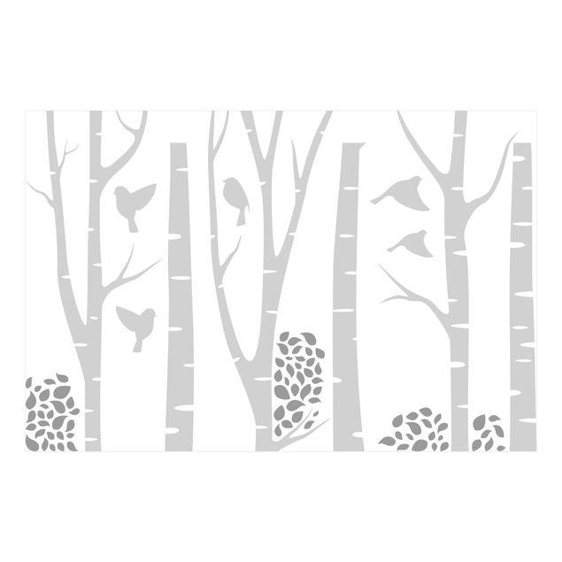 Wandtattoo - Birken Wald Blätter Vögel Grau