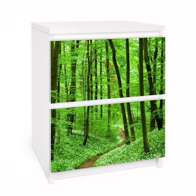 Möbelfolie für IKEA Malm Kommode - Selbstklebefolie Romantischer Waldweg
