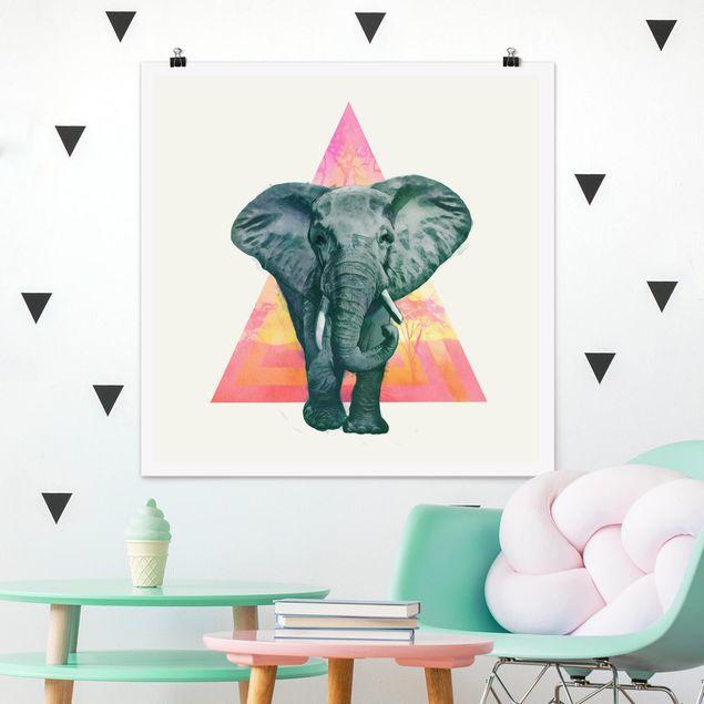 Poster - Illustration Elefant vor Dreieck Malerei - Quadrat 1:1