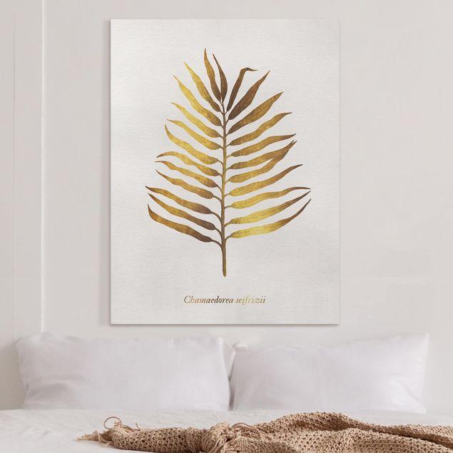 Leinwandbild - Gold - Palmenblatt II - Hochformat 4:3