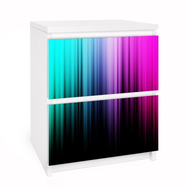 Möbelfolie für IKEA Malm Kommode - Selbstklebefolie Rainbow Display