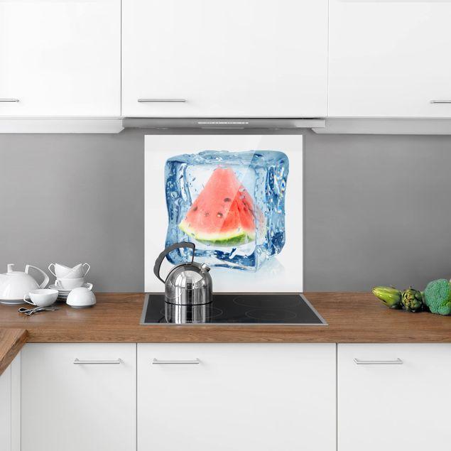 Glas Spritzschutz - Melone im Eiswürfel - Quadrat - 1:1
