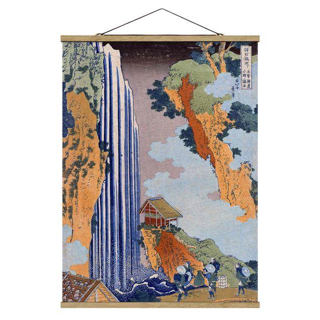 Stoffbild mit Posterleisten - Katsushika Hokusai - Ono Wasserfall - Hochformat 3:4