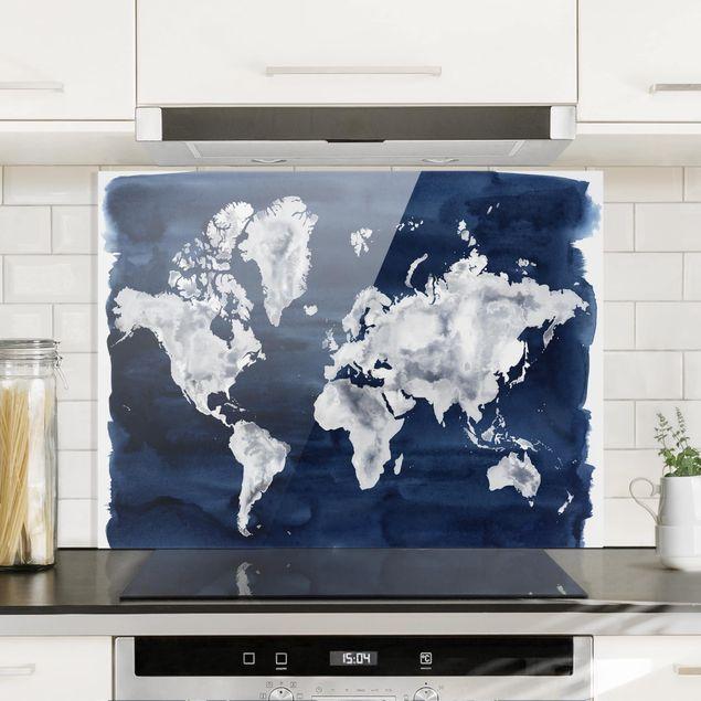 Glas Spritzschutz - Wasser-Weltkarte dunkel - Querformat - 4:3