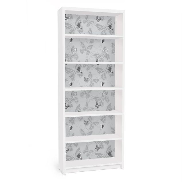Möbelfolie für IKEA Billy Regal - Klebefolie Schmetterlinge Monochrom