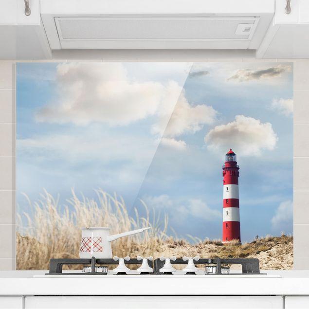Glas Spritzschutz - Leuchtturm in den Dünen - Querformat - 4:3