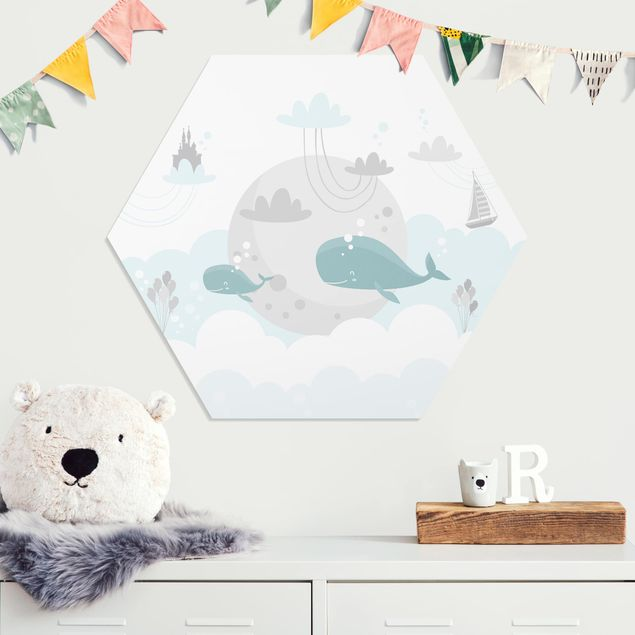 Hexagon Bild Forex - Wolken mit Wal und Schloss