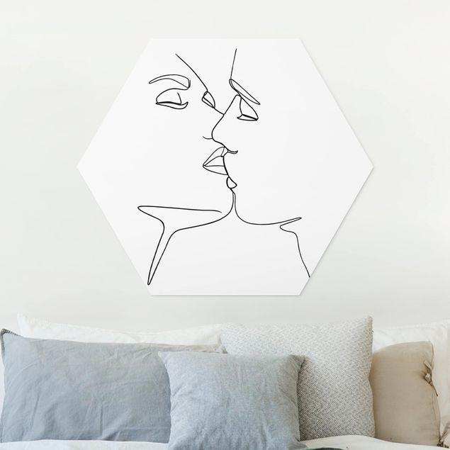 Hexagon Bild Forex - Line Art Kuss Gesichter Schwarz Weiß
