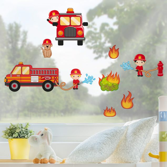 Fensterfolie - Fenstersticker - Feuerwehr im Einsatz Set