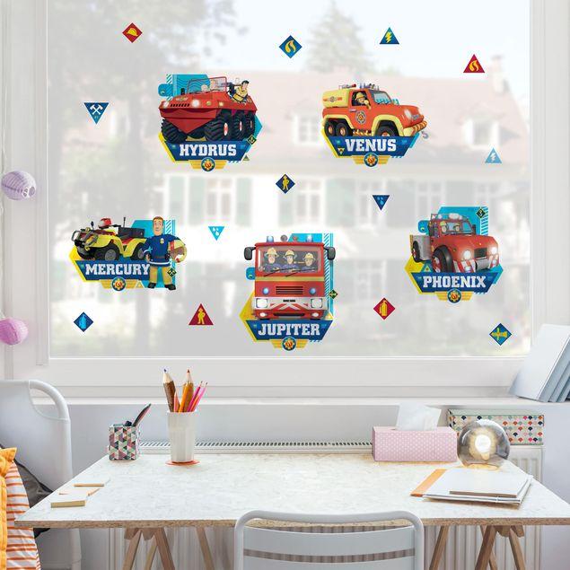 Fensterfolie Fenstersticker - Feuerwehrmann Sam - Fahrzeuge