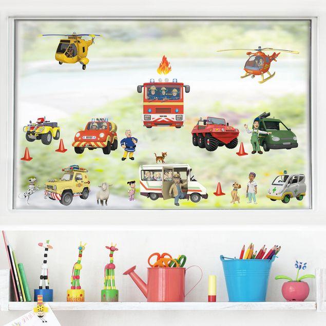 Fensterfolie Fenstersticker - Feuerwehrmann Sam - Mega Set 22-teilig