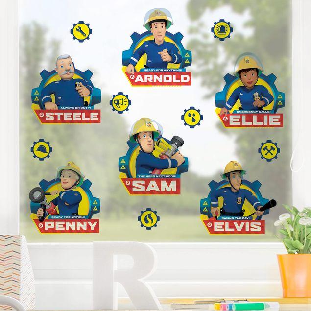 Fensterfolie Fenstersticker - Feuerwehrmann Sam - Team