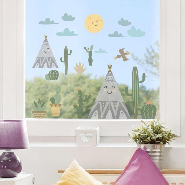 Fensterfolie Fenstersticker - Indianerzelt und Kakteen
