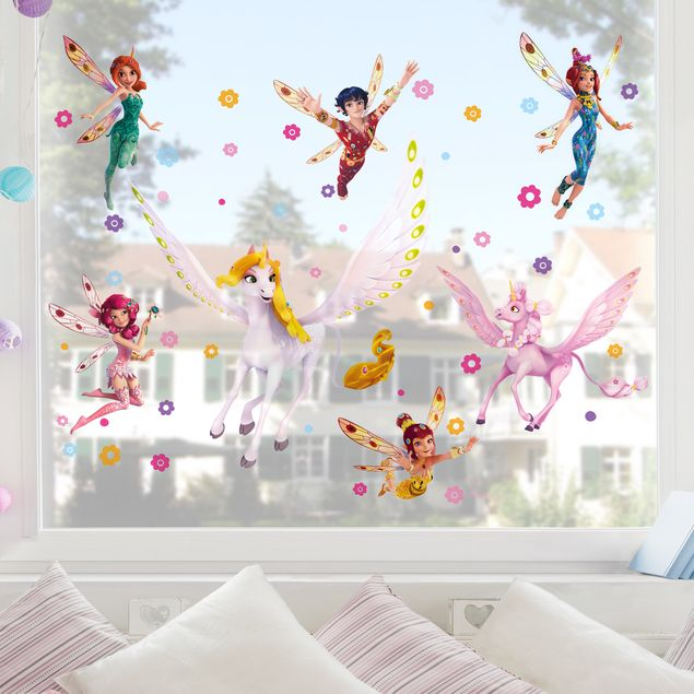 Fensterfolie - Fenstersticker Kinderzimmer - Mia and Me - Sara, Onchao, Kyara mit den Elfen