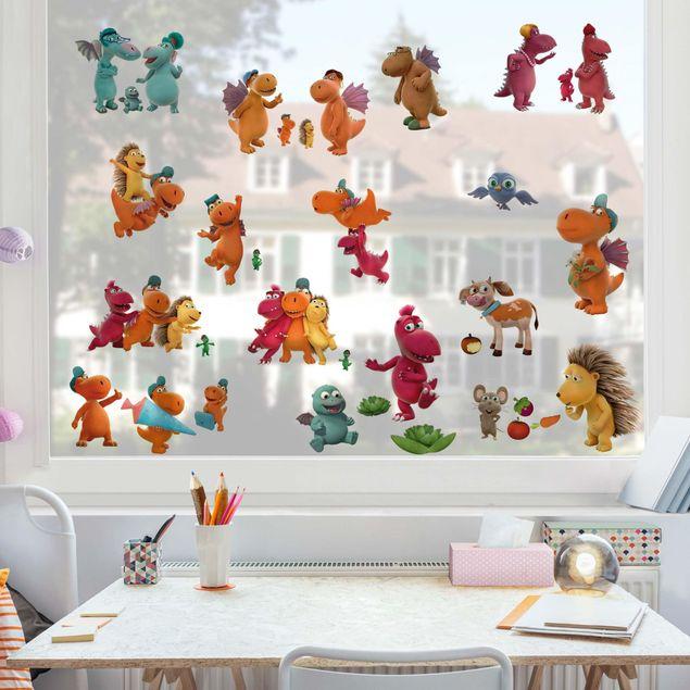 Fensterfolie Fenstersticker - Kleiner Drache Kokosnuss - Mega-Set