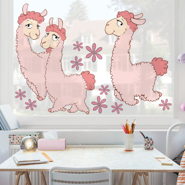 Fensterfolie - Fenstersticker - NICI Rosa Lama Set