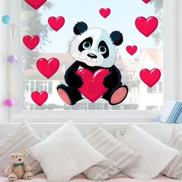 Fensterfolie Fenstersticker - Panda mit Herzen