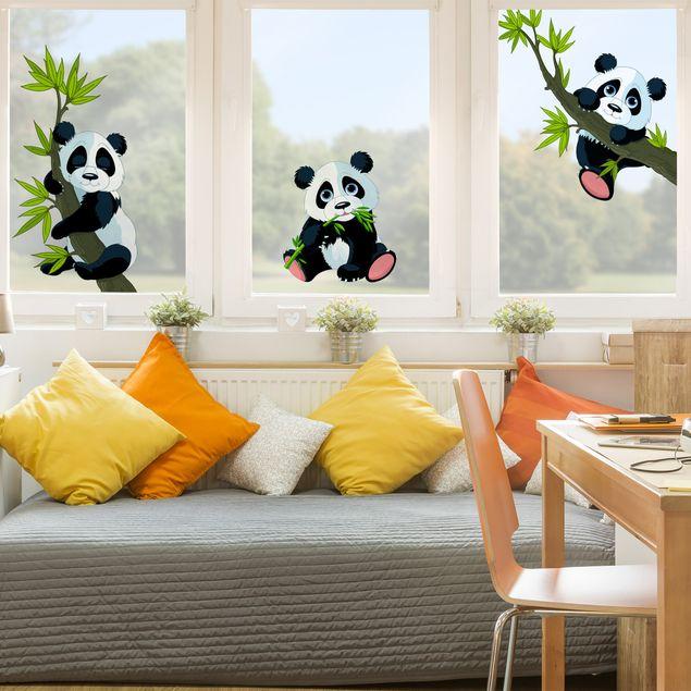Fensterfolie - Fenstersticker - Pandabären Set