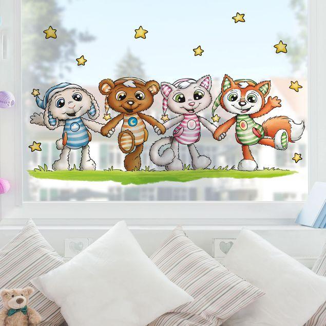 Fensterfolie Fenstersticker Kinderzimmer - Schlafmützen - Wir halten zusammen