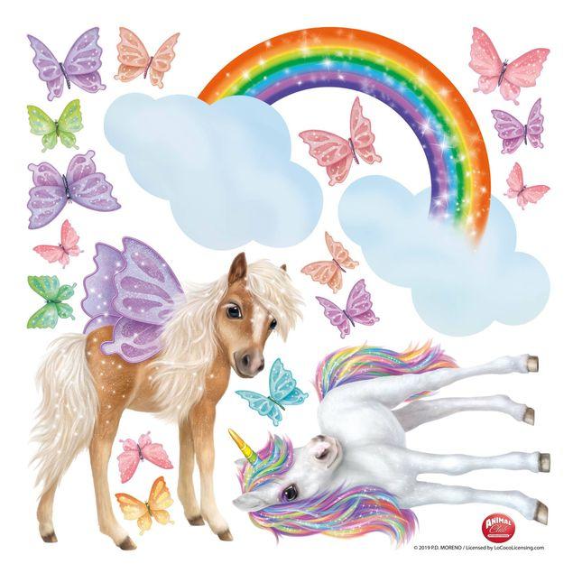 Fensterfolie Fenstersticker Kinderzimmer - Animal Club International - Set Einhorn und Schmetterlinge